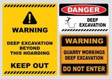Deep excavation sign Stock Photos