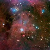 Keyhole Nebula. Deep exposure of the Orion constellation showing all the celestial gems including M42, The Orion Nebula, The Horsehead Nebula, the `Boogie Man` royalty free stock photos