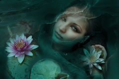 Deep eyes.. Beautiful woman in water with Lotus flowers Royalty Free Stock Photo