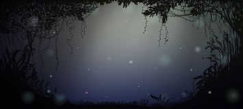 Deep fairy forest silhouette at night with moonlight and fireflies,. Vector Royalty Free Stock Photo