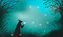 Deep fairy forest silhouette and witch with magic. Wand, halloween fairy background Royalty Free Stock Photography