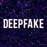 Deepfake glitched poster vector illustration