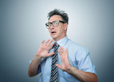Deep fear of businessman in glasses Royalty Free Stock Images