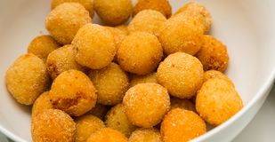 Deep fired cheese balls for catering at a corporate event stock photos