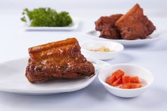 Deep fired Pork belly and pork ribs stock photo