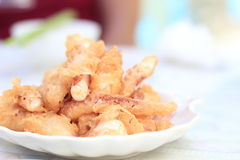 Deep fired squid. At a small restaurant near the beach as appetizer Royalty Free Stock Images