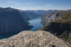 Deep fjord in norway Stock Photography