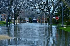Deep Flood Water. In Residential Area. Des Plains, IL, USA. City Under River Flood Water. Nature Disasters Photography Collection Stock Image