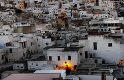 Old medina tetouan morocco. During the sunset royalty free stock image