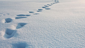 Deep footprints in the snow, snowdrift texture background Royalty Free Stock Photo
