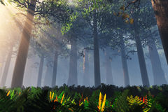 Deep Forest 3D render Royalty Free Stock Image