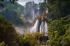 Deep Forest beautiful waterfall at Thi Lo Su. Tak, Thailand stock photo