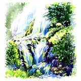 Deep forest beautiful waterfall, watercolor painting Stock Image