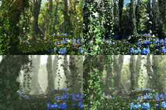 Deep Forest, 3d Computer Graphics. 3D computer graphics of a forest with blue flowers and tree trunks full of ivy in 4 atmospheres variations Stock Images