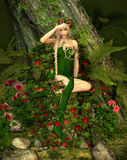 Deep Forest Fae. A decorative illustration of a fairy in the woods vector illustration
