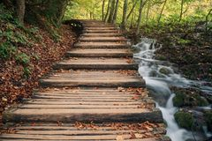 Wooden Bridge Over Plitvice Lakes And Waterfalls - Plitvice Lake royalty free stock image