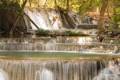 Deep forest stream waterfall Royalty Free Stock Image