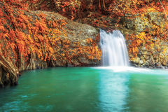 Deep forest waterfall in autumn at Sarika Waterfall World Herita Royalty Free Stock Photos