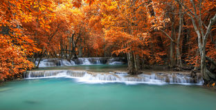 Deep forest waterfall in autumn scene at Huay Mae Kamin waterfal stock images