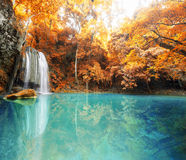 Deep forest waterfall in autumn scene at Huay Mae Kamin waterfal Royalty Free Stock Photography