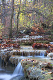 Deep forest waterfall. Beautiful waterfall flowing through the autumn forest with a lot of fallen leaves Royalty Free Stock Photo
