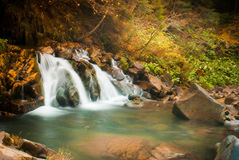 Deep forest waterfall in the Carpathians Stock Images