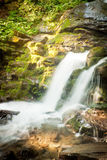 Deep forest waterfall in the Carpathians Royalty Free Stock Image
