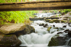 Deep forest waterfall in the Carpathians Stock Photos