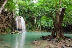 Deep forest waterfall at Erawan waterfall National Park Kanchana. Buri Thailand Stock Images