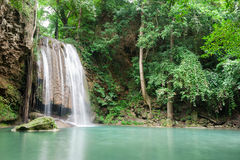 Deep forest waterfall at Erawan waterfall National Park Kanchana. Buri Thailand Royalty Free Stock Photos