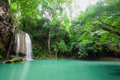 Deep forest waterfall at Erawan waterfall National Park Kanchana. Buri Thailand Stock Photo