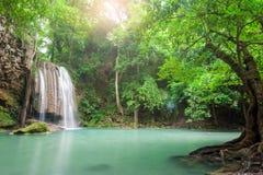 Deep forest waterfall at Erawan waterfall National Park Kanchana. Buri Thailand Royalty Free Stock Photo