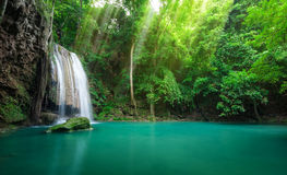 Deep forest waterfall at Erawan waterfall National Park Kanchana. Buri Thailand Royalty Free Stock Photography