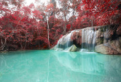 Deep forest waterfall at Erawan waterfall National Park Kanchana. Buri Thailand Stock Photos