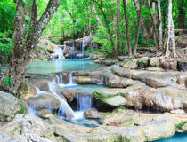 Deep forest waterfall at Erawan waterfall National Park Kanjanab. Deep forest waterfall at Erawan waterfall National Stock Image