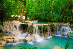 Deep forest waterfall at Erawan waterfall National Park Kanjanab Stock Photo