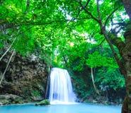 Deep forest waterfall at Erawan waterfall National Park Kanjanab Stock Photography