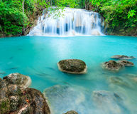 Deep forest waterfall at Erawan waterfall National Park Kanjanab Royalty Free Stock Image
