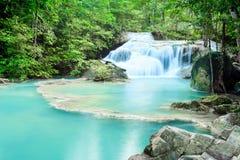 Deep forest waterfall at Erawan waterfall National Park Kanjanab Royalty Free Stock Images
