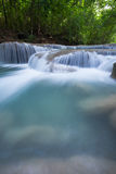 Deep forest waterfall at Erawan waterfall Royalty Free Stock Images