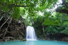 Deep forest waterfall at Erawan waterfall Stock Photography