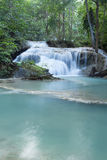 Deep forest waterfall at Erawan waterfall Royalty Free Stock Photos