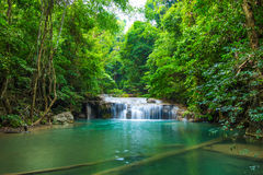 Deep forest waterfall at Erawan waterfall National Park Stock Photos