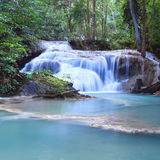 Deep forest waterfall at Erawan waterfall National Park Kanjanaburi Thailand. Deep forest waterfall at Erawan waterfall National Park Royalty Free Stock Photo