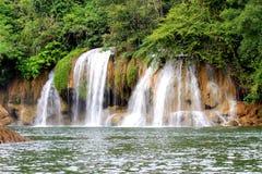 Deep forest waterfall at Erawan waterfall National Park Kanjanaburi Thailand. Deep forest waterfall at Erawan waterfall Stock Image