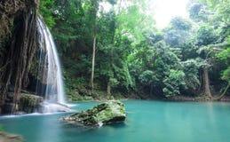 Deep forest waterfall at Erawan waterfall National Park. Kanjanaburi Thailand Royalty Free Stock Photography
