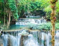 Deep forest waterfall at Huay Mae Kamin, Kanchanab royalty free stock photo