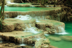 Deep forest waterfall in Huay Mae Kamin Kanjanaburi Thailand Stock Image