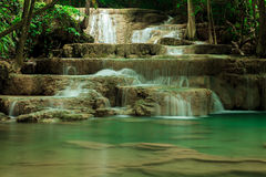 Deep forest waterfall in Huay Mae Kamin Kanjanaburi Thailand Royalty Free Stock Photo