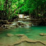 Deep forest waterfall in Huay Mae Kamin Kanjanaburi Thailand Royalty Free Stock Photography